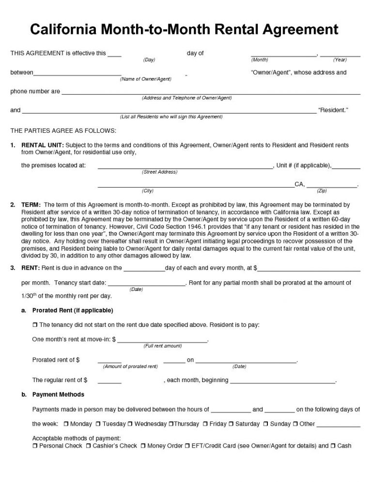 California MonthToMonth Rental Agreement  Rental Lease Agreement