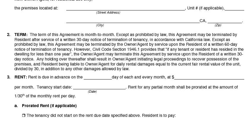 Free California Month To Month Rental Agreement Pdf Docx
