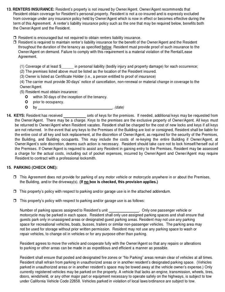 Free California Month To Month Rental Agreement Download Printable