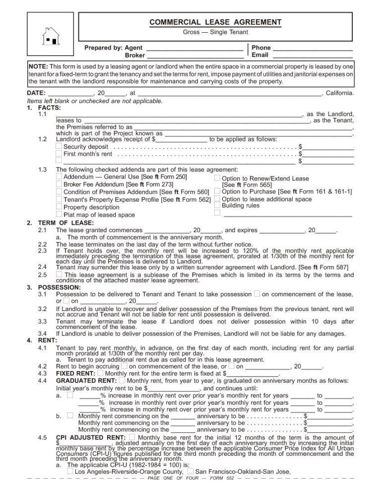 California Commercial Lease Agreement Gross Single Tenant Rental