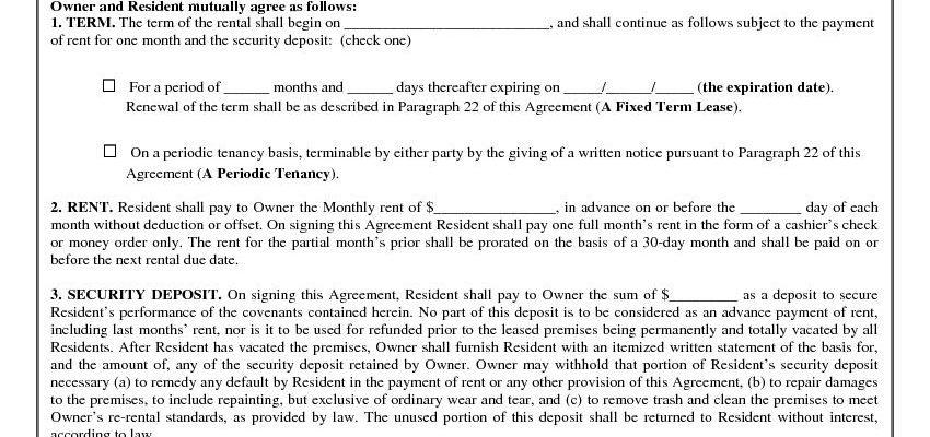 California Rental Lease Agreement