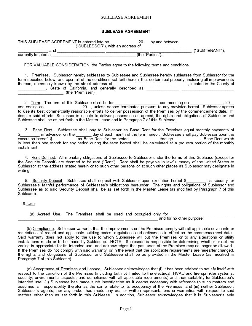 Free California Rental Lease Agreement Forms Printable Pdf