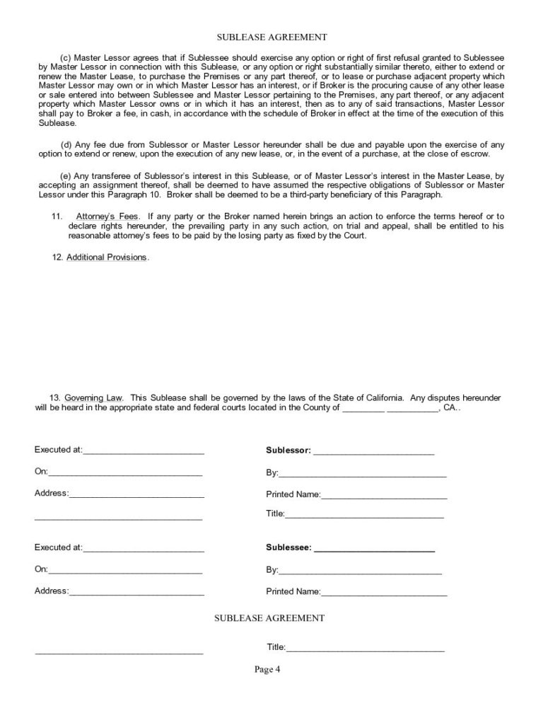 Free California Sublease Agreement Download Printable Pdf