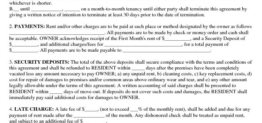Free Basic Rental Agreement Or Residential Lease Pdf Docx