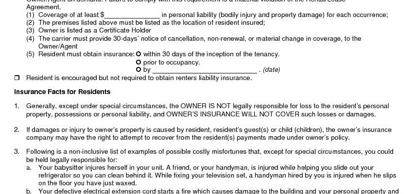California Renters Insurance - Addendum to Lease Agreement