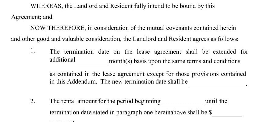 Lease Extension Agreement - Addendum to Lease Agreement