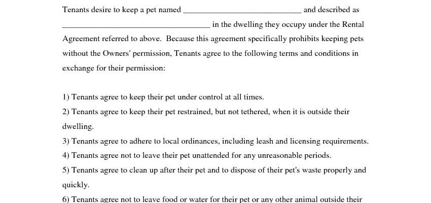 Pet Agreement - Addendum to Lease Agreement
