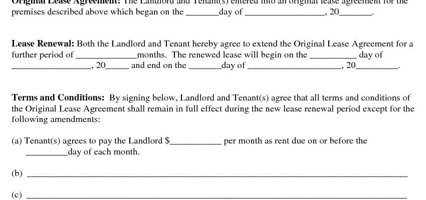 Renew or Extend Lease Agreement -Addendum to Lease Agreement