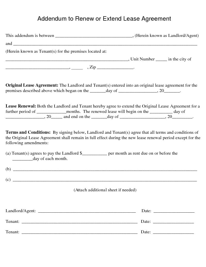 Free Renew or Extend Lease Agreement  Addendum to Lease Agreement ...