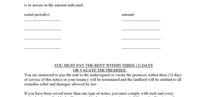 Washington Three Day Notice Pay Rent Vacate