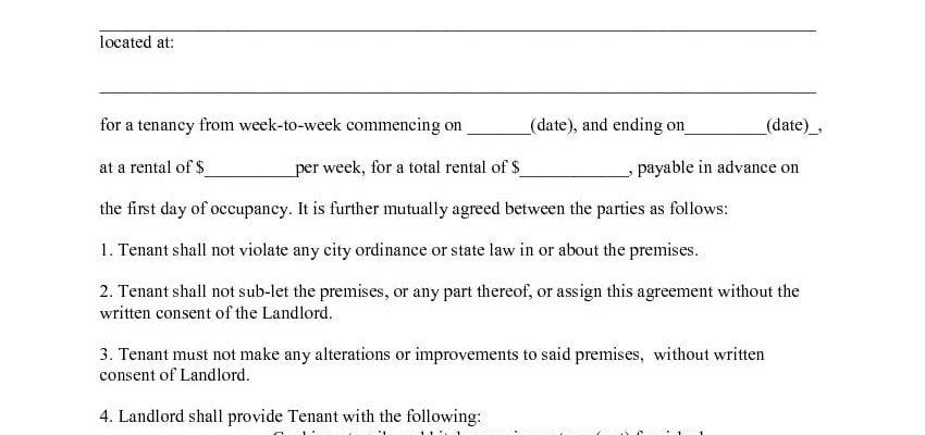 Week to Week Rental Agreement