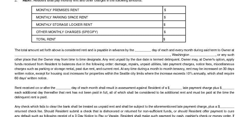 Washington Month to Month Rental Lease Agreement